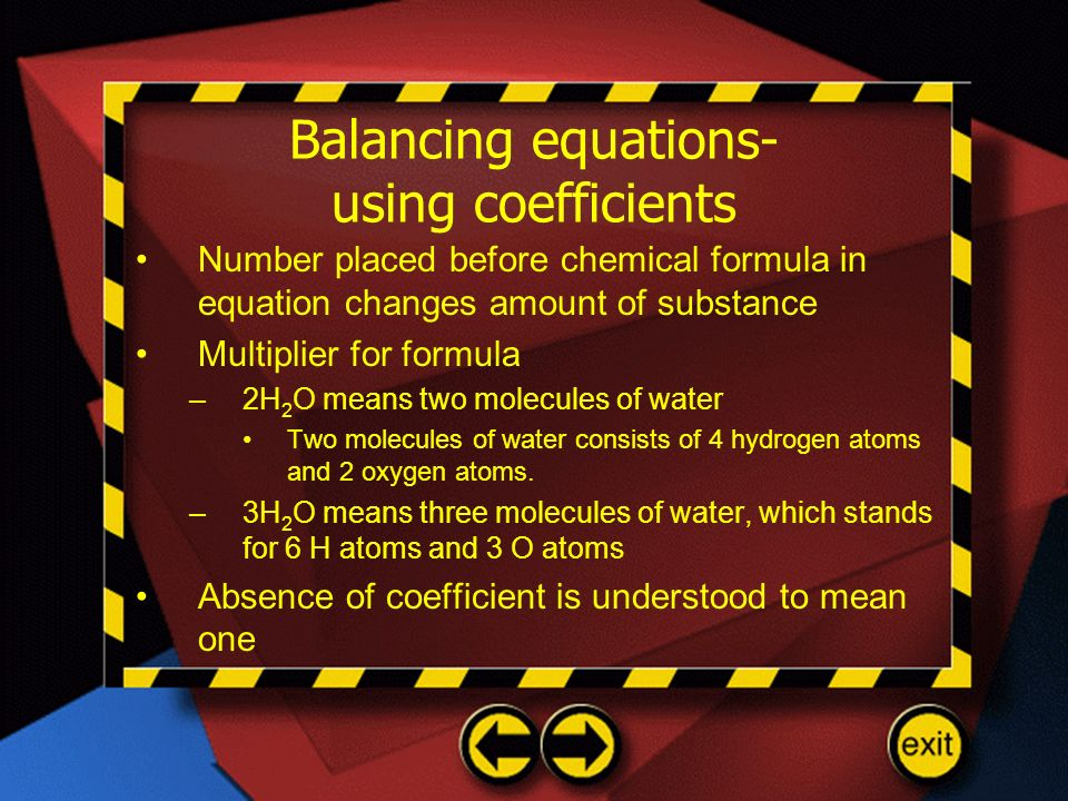 Balancing equations- using coefficients