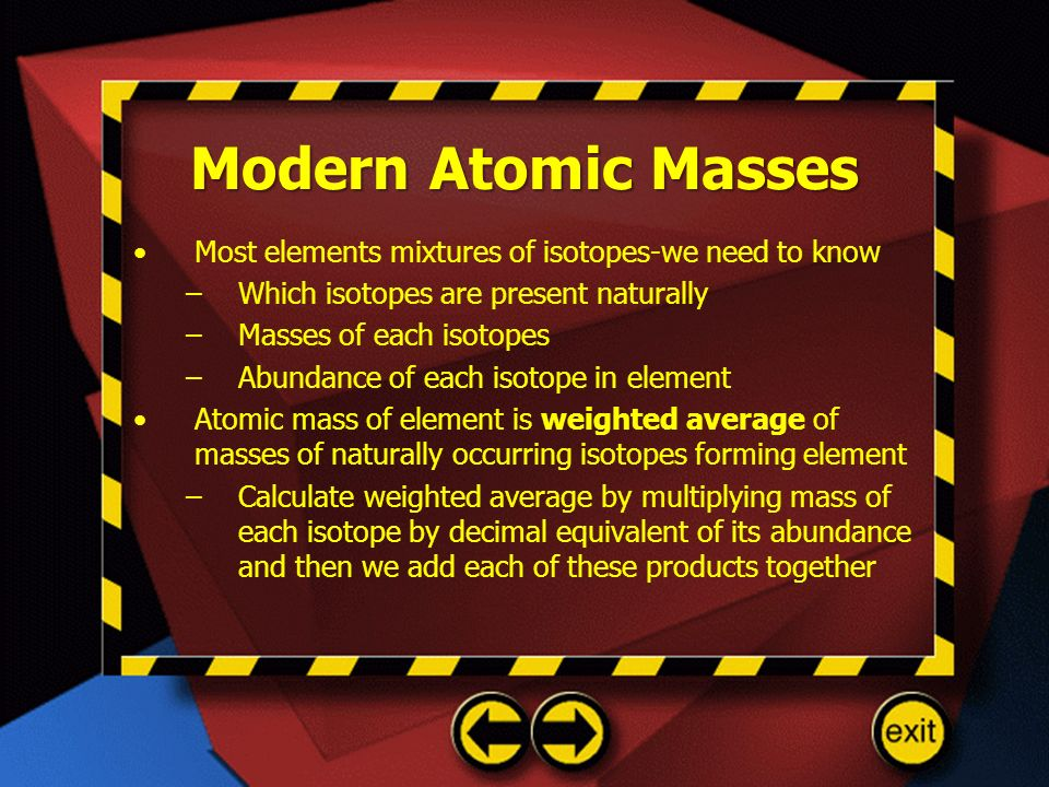 Modern Atomic Masses Most elements mixtures of isotopes-we need to know. Which isotopes are present naturally.