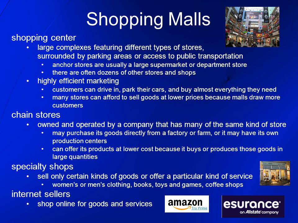 Shopping Malls shopping center chain stores specialty shops