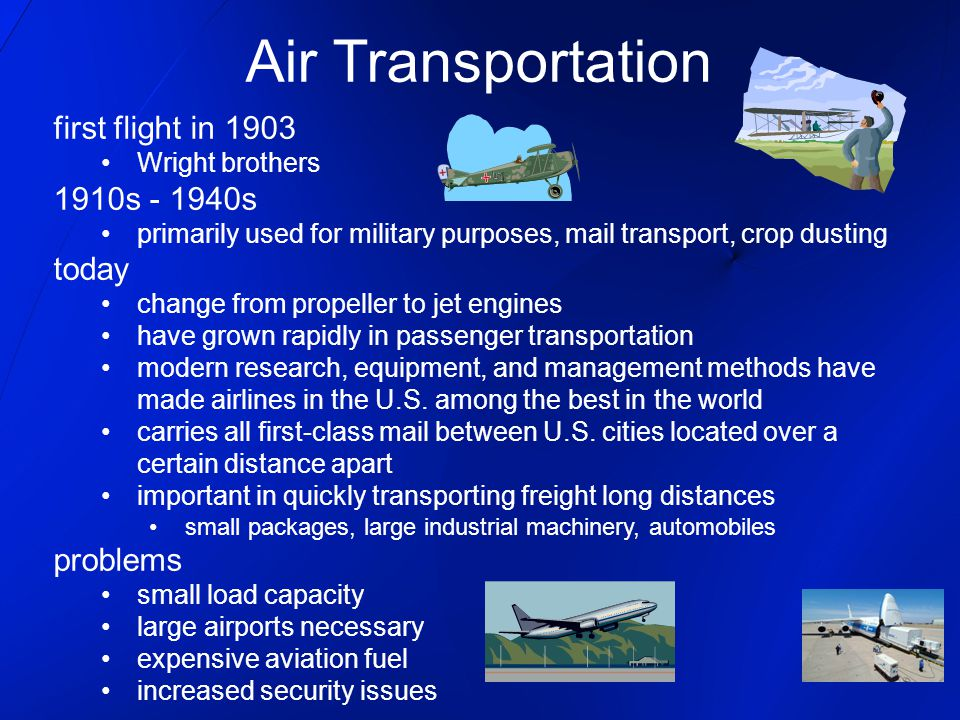 Air Transportation first flight in 1903 1910s - 1940s today problems