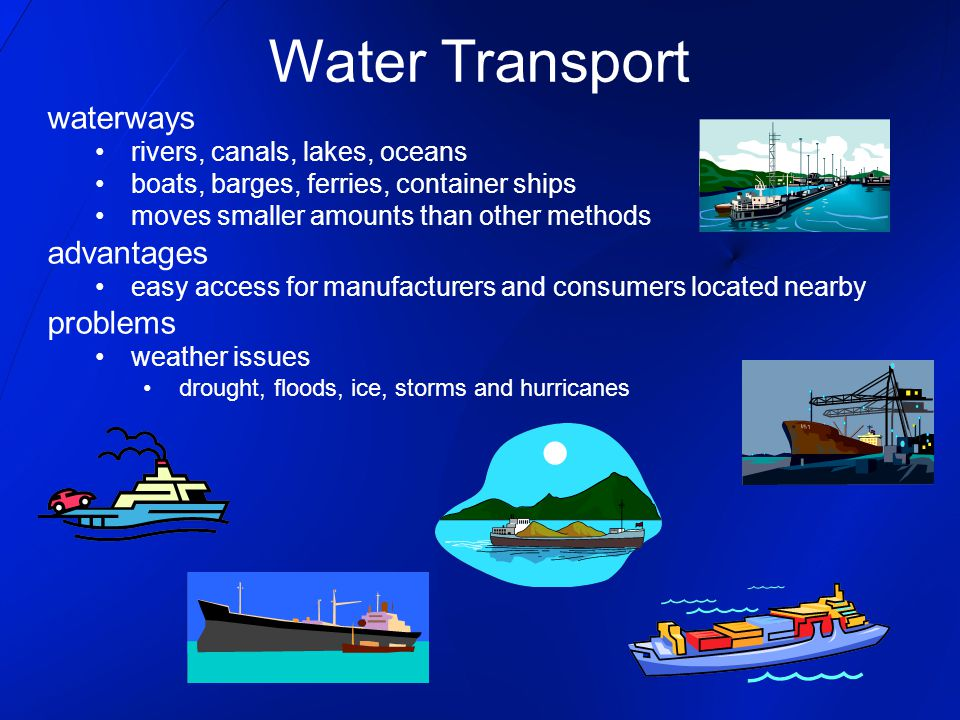 Water Transport waterways advantages problems