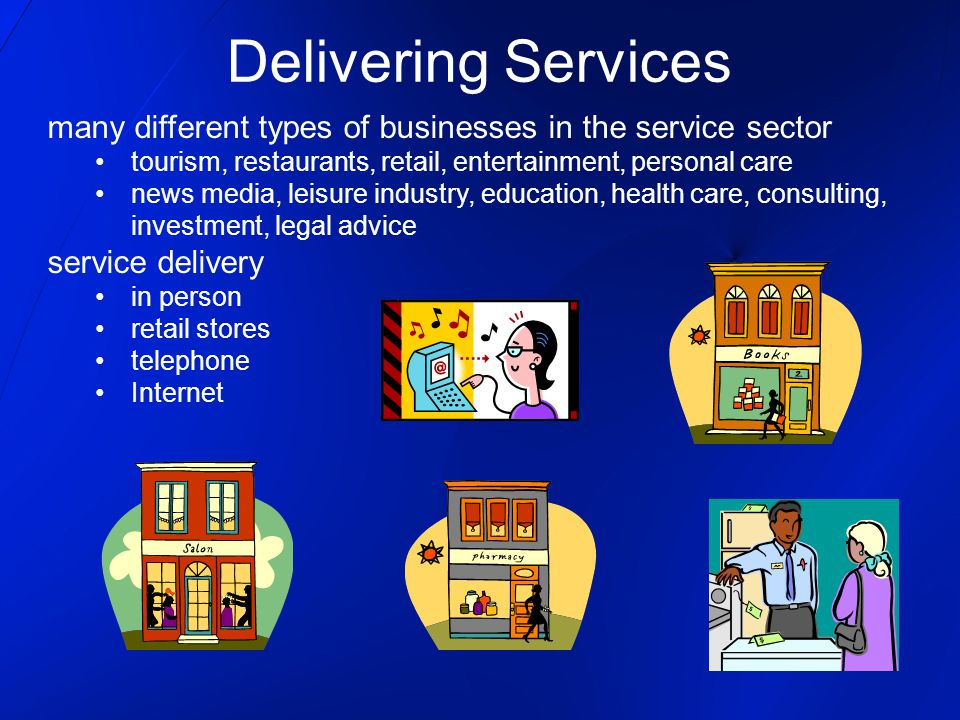 Delivering Services many different types of businesses in the service sector. tourism, restaurants, retail, entertainment, personal care.