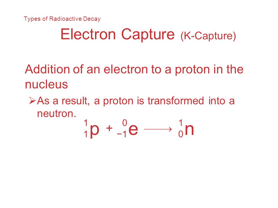 Types of Radioactive Decay Electron Capture (K-Capture)