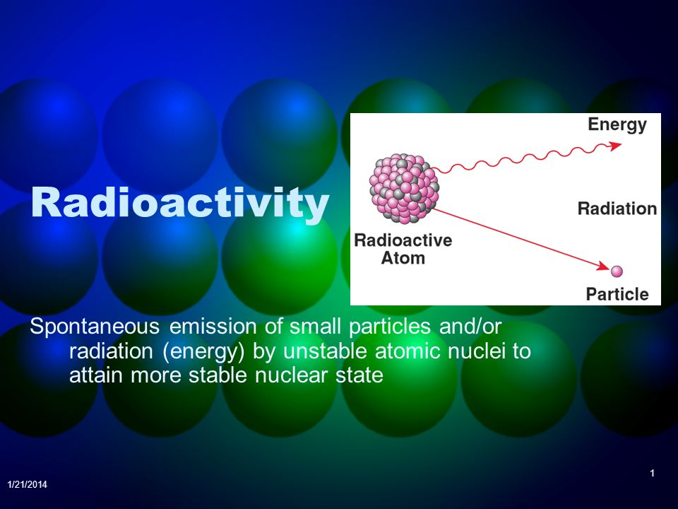 Radioactivity Spontaneous emission of small particles and/or radiation (energy) by unstable atomic nuclei to attain more stable nuclear state.