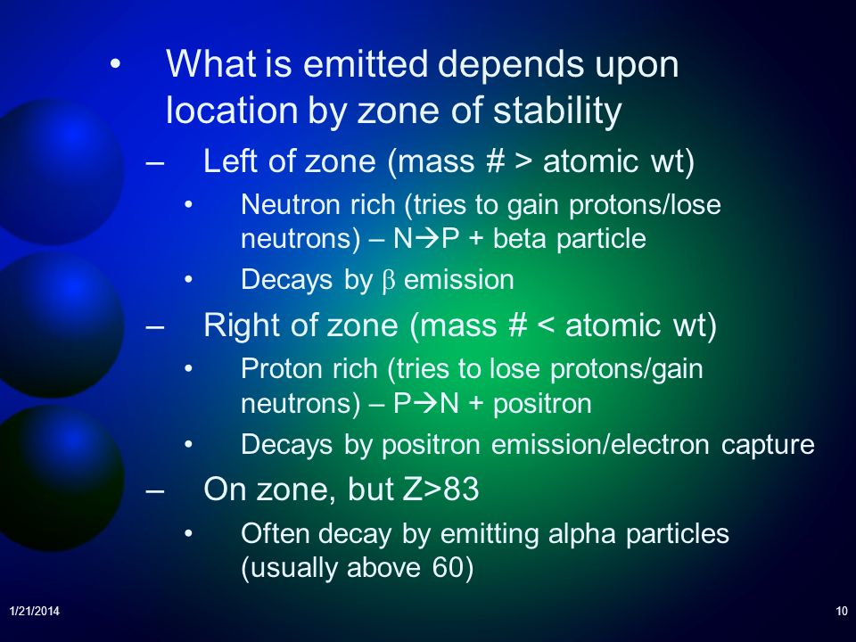 What is emitted depends upon location by zone of stability