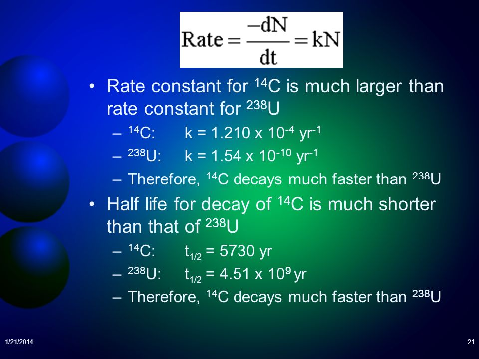Rate constant for 14C is much larger than rate constant for 238U
