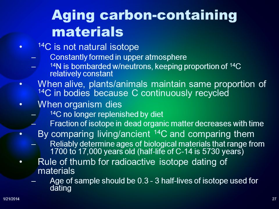 Aging carbon-containing materials