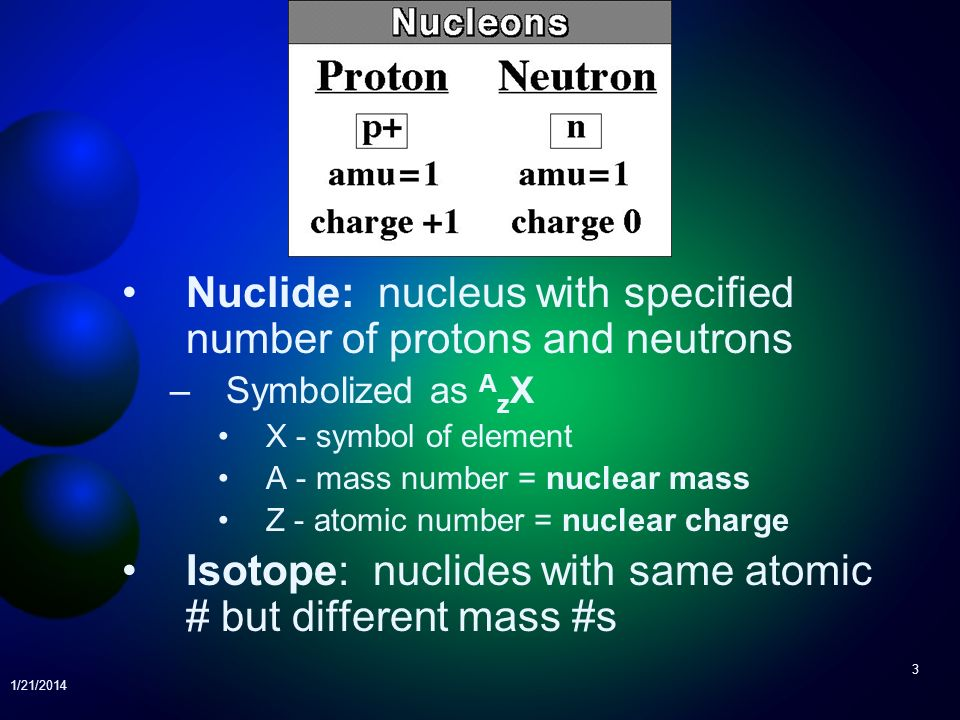 Nuclide: nucleus with specified number of protons and neutrons