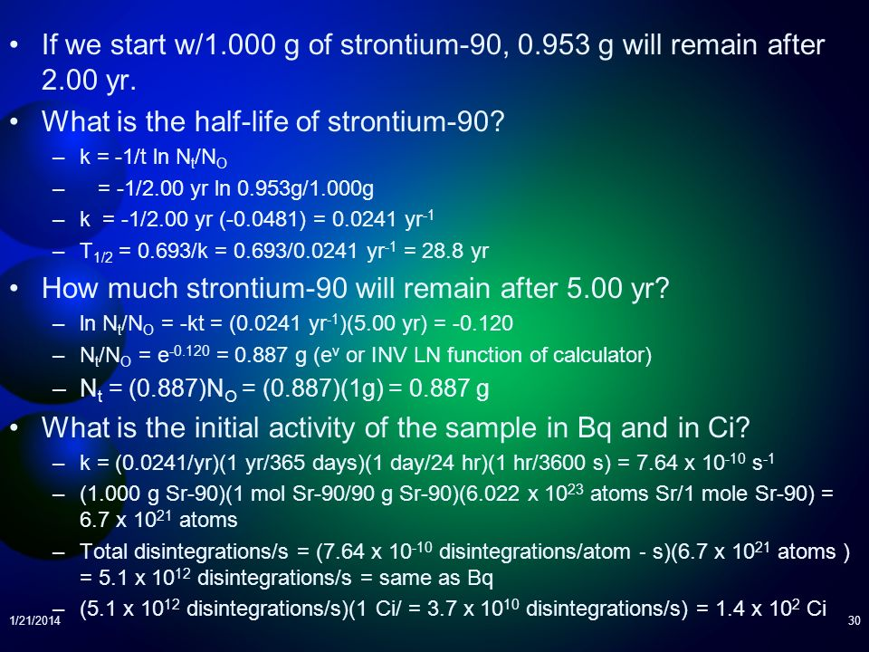 What is the half-life of strontium-90
