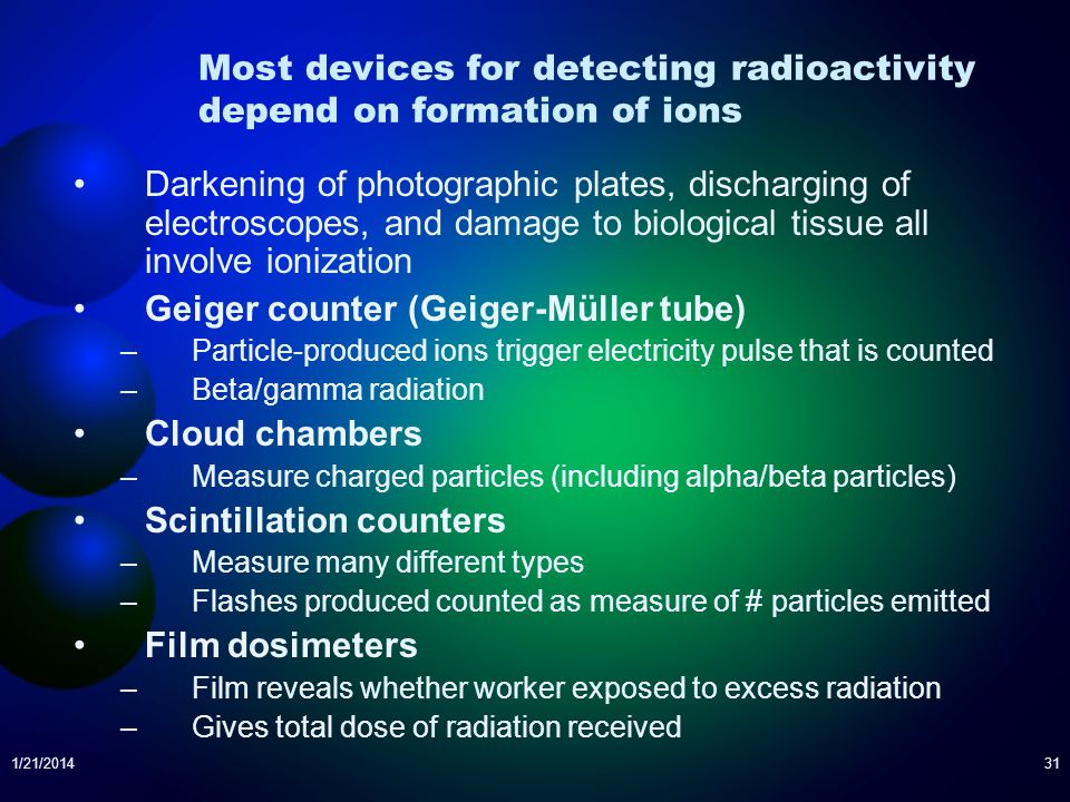 Most devices for detecting radioactivity depend on formation of ions
