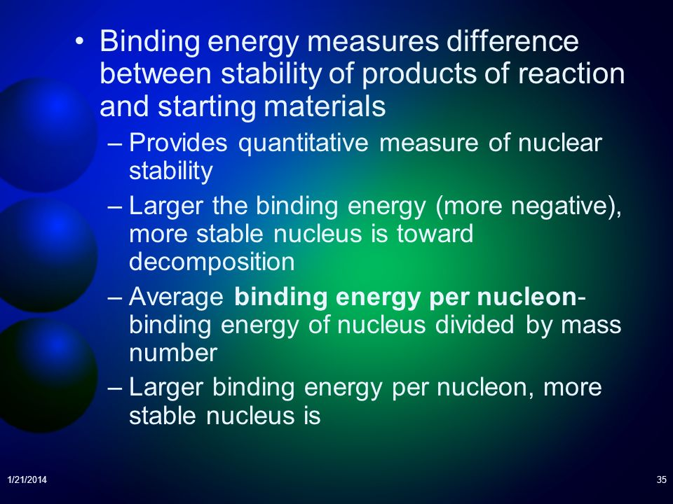 Binding energy measures difference between stability of products of reaction and starting materials