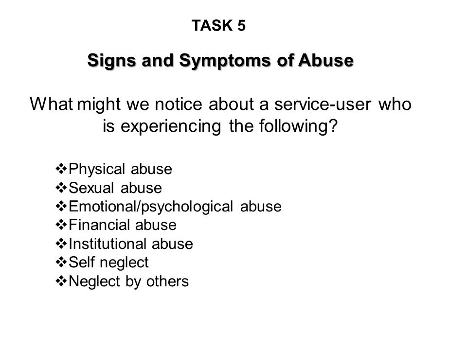 Signs and Symptoms of Abuse