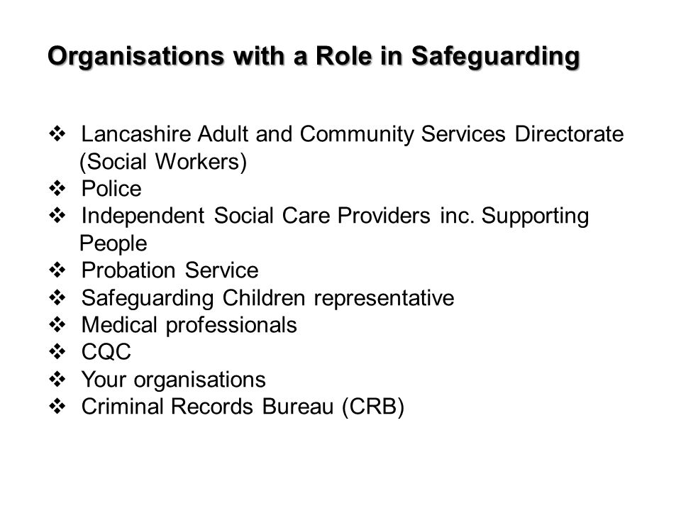 Organisations with a Role in Safeguarding