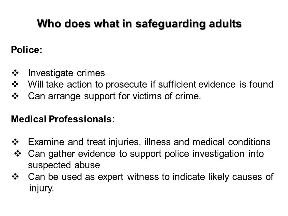 Who does what in safeguarding adults