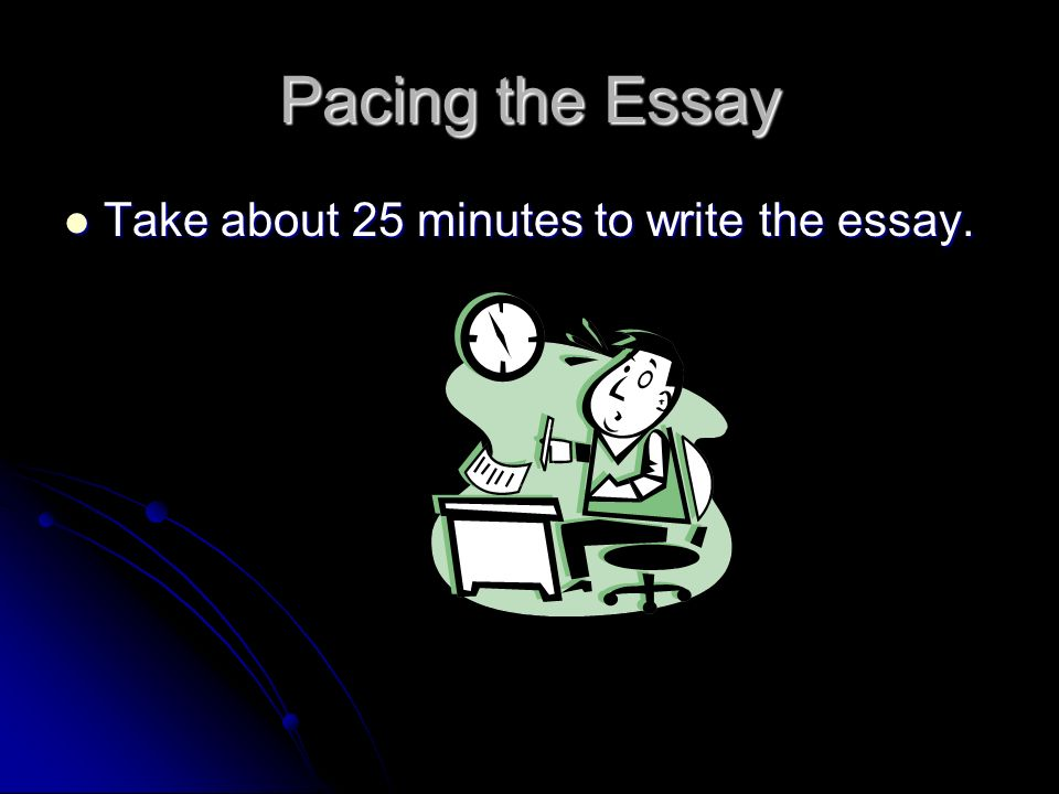 Pacing the Essay Take about 25 minutes to write the essay.