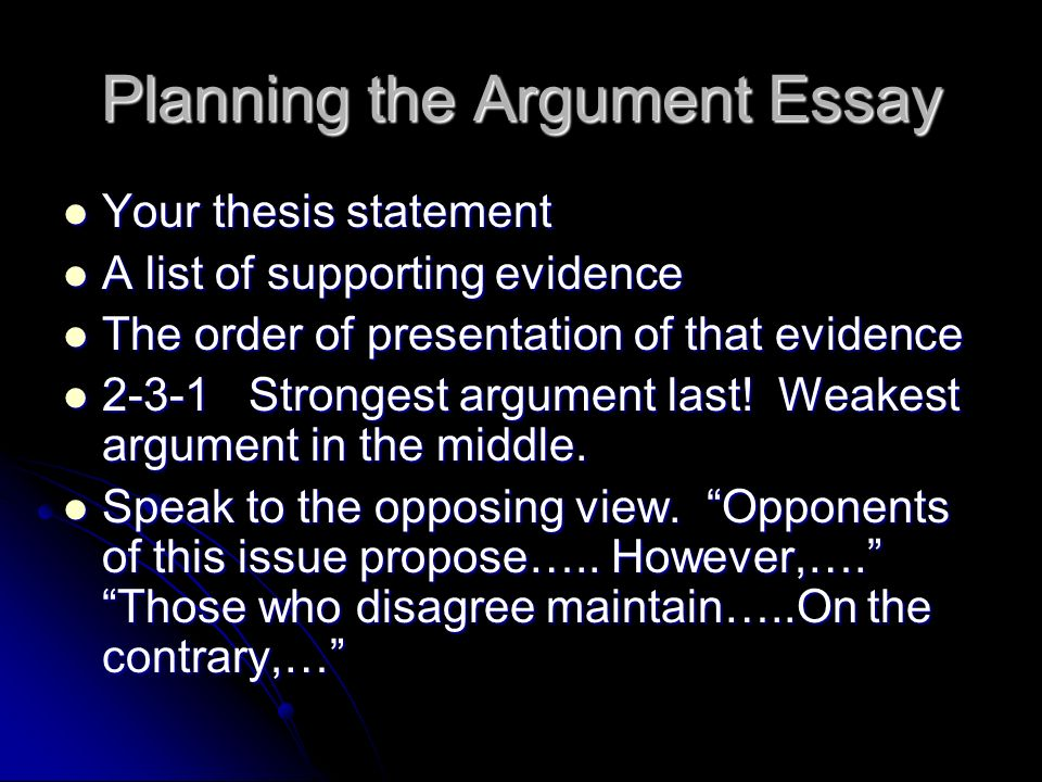Planning the Argument Essay