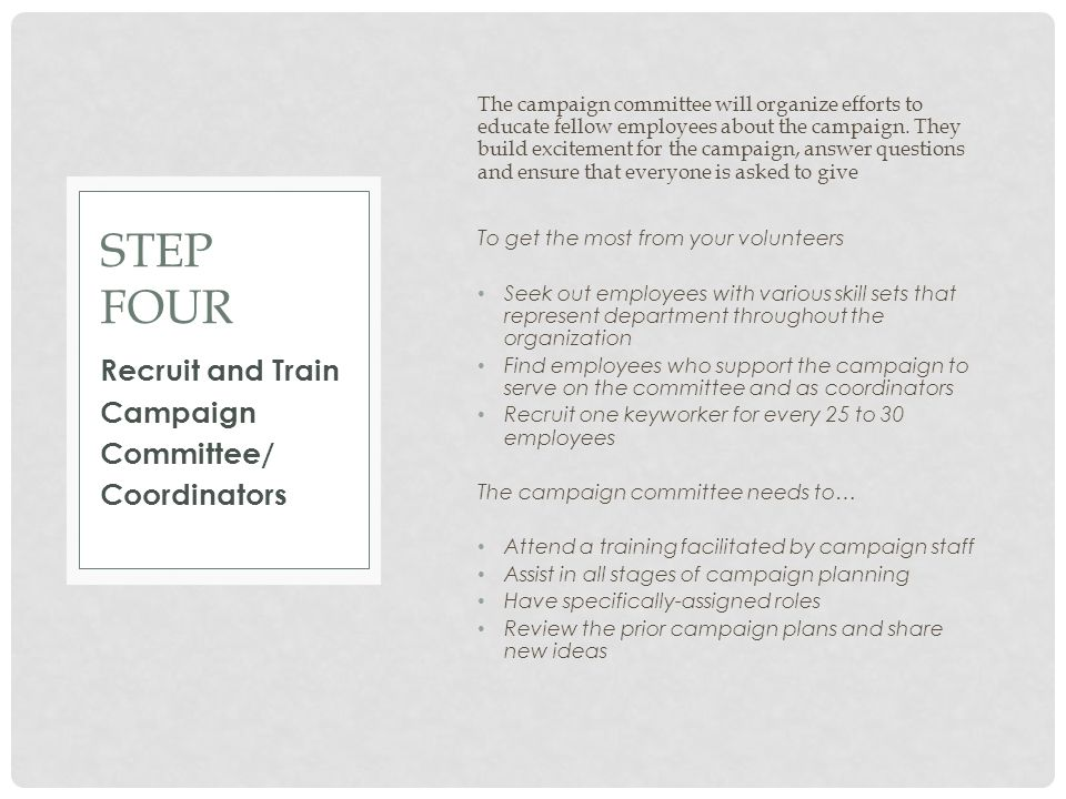 Step four Recruit and Train Campaign Committee/ Coordinators