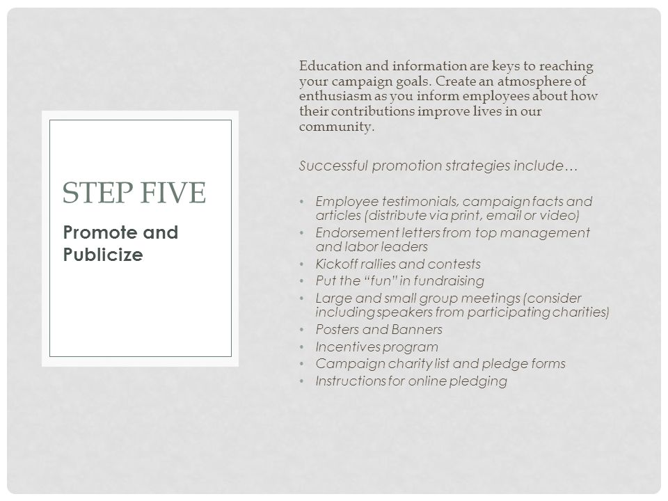 Step Five Promote and Publicize