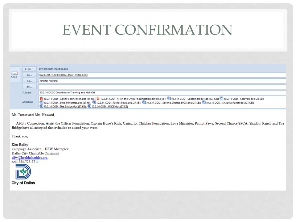 Event Confirmation