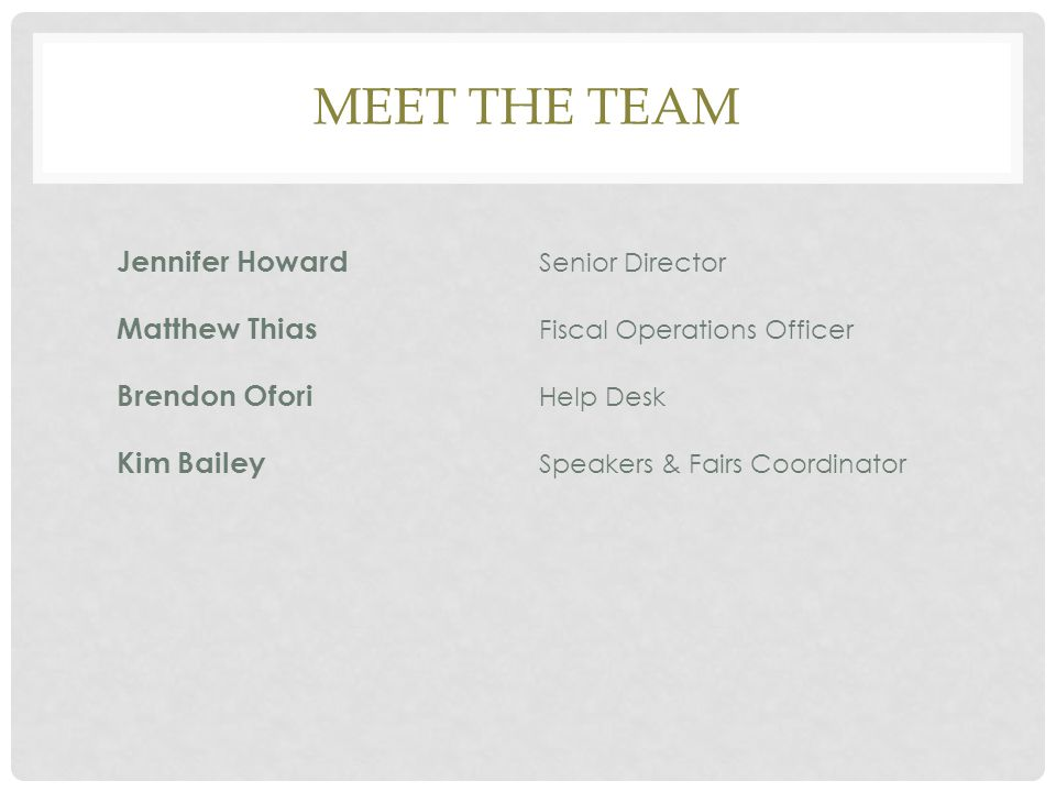 Meet the team Jennifer Howard Senior Director