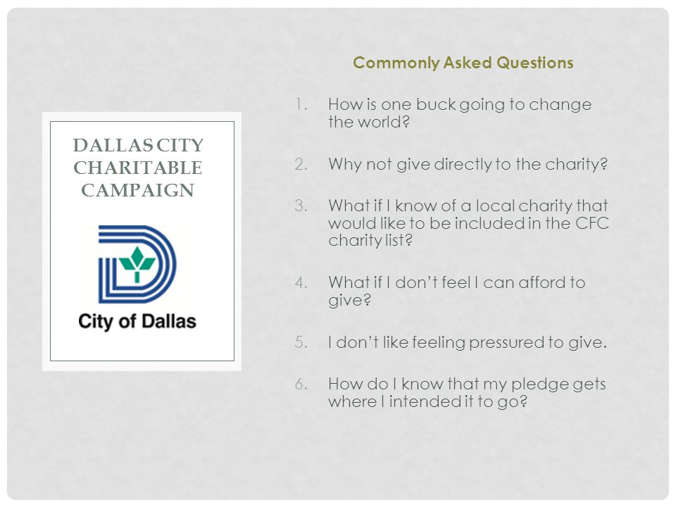 Dallas City Charitable campaign