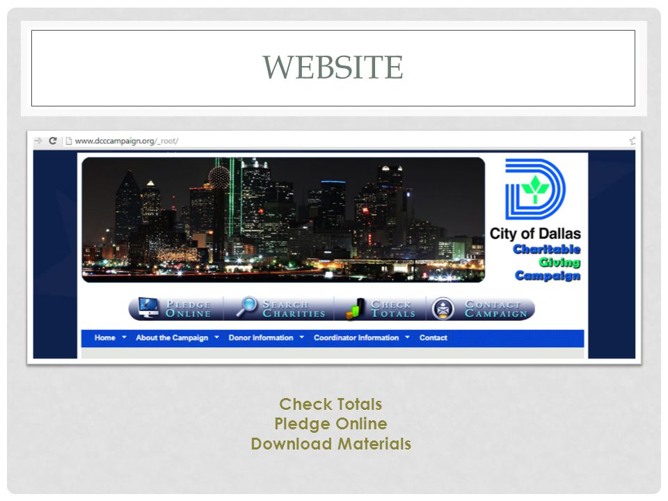 Website Check Totals Pledge Online Download Materials