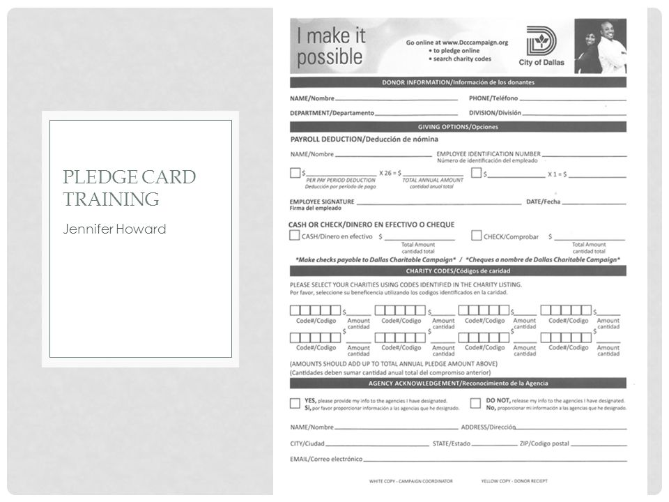 Pledge card training Jennifer Howard