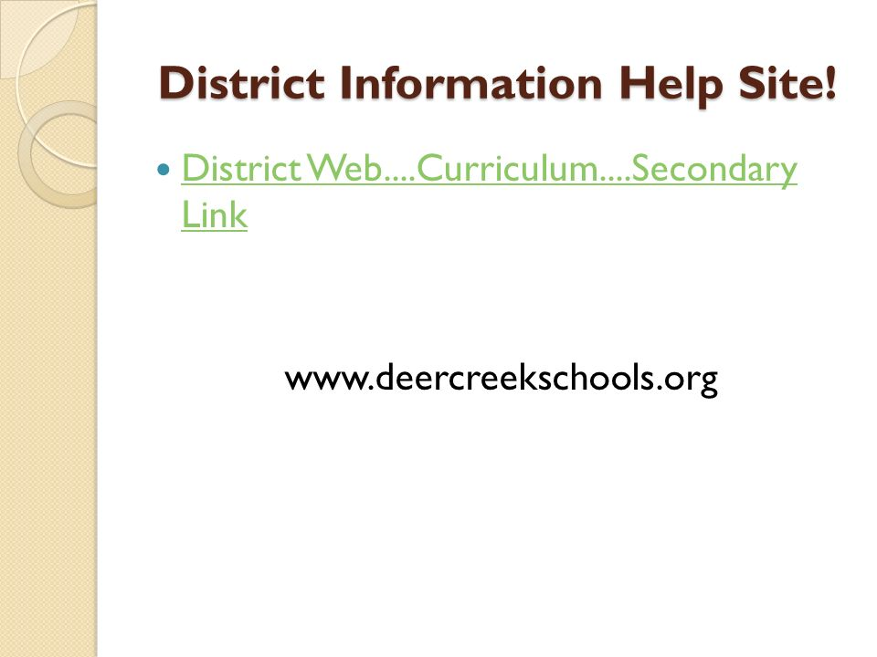 District Information Help Site!