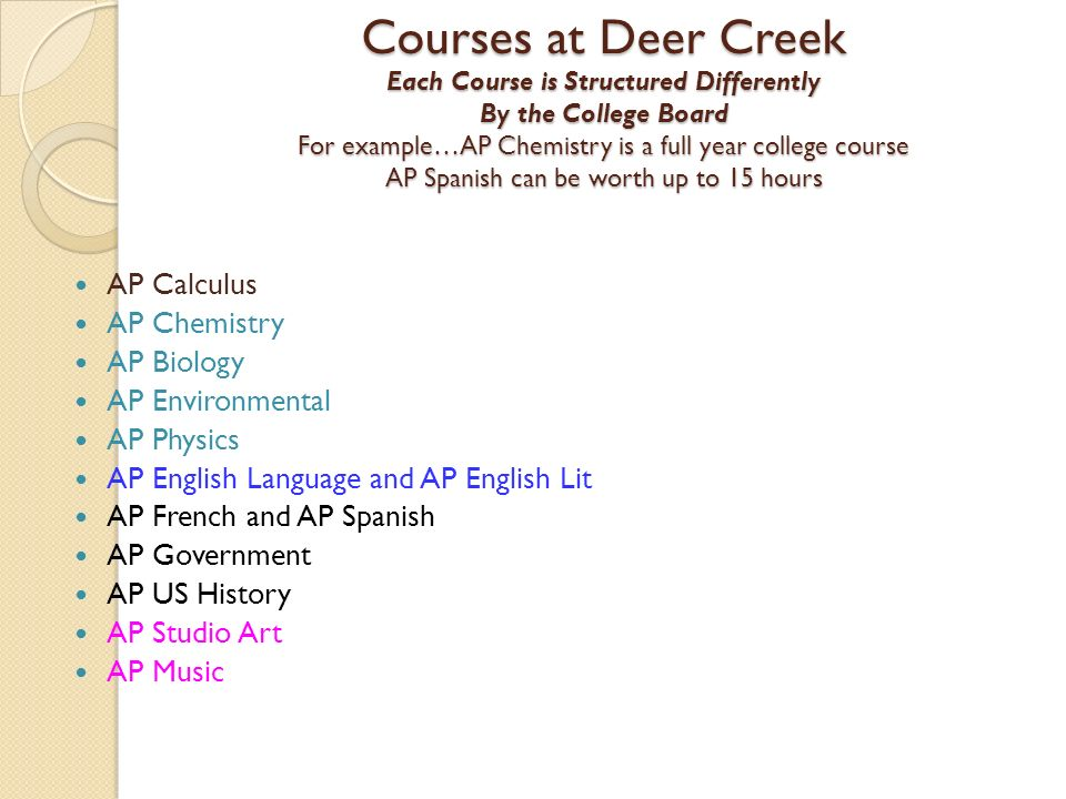 Courses at Deer Creek Each Course is Structured Differently By the College Board For example…AP Chemistry is a full year college course AP Spanish can be worth up to 15 hours