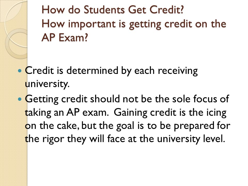 How do Students Get Credit