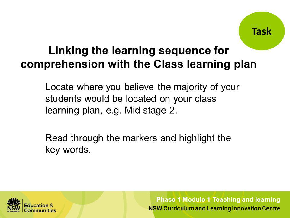Task Linking the learning sequence for comprehension with the Class learning plan.