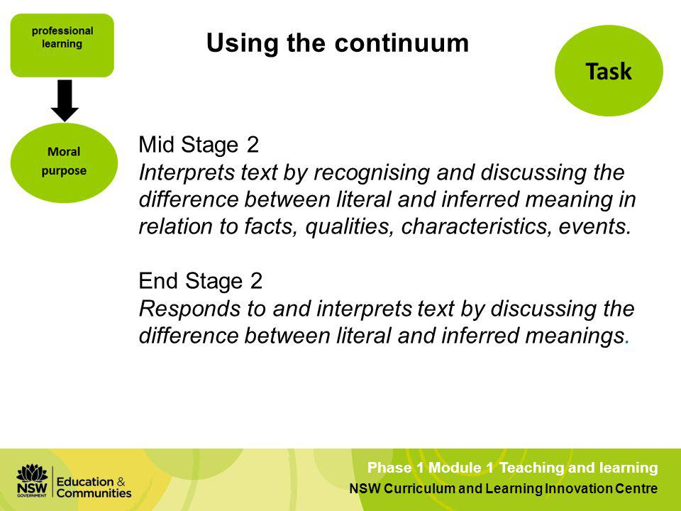 Using the continuum Task Mid Stage 2
