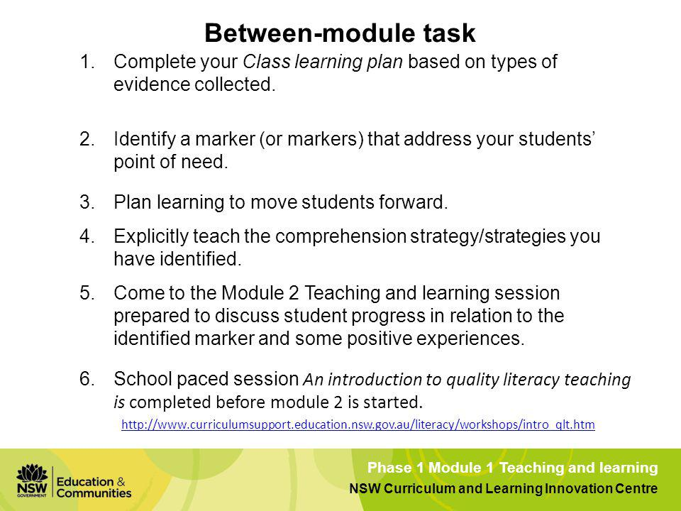 Between-module task Complete your Class learning plan based on types of evidence collected.