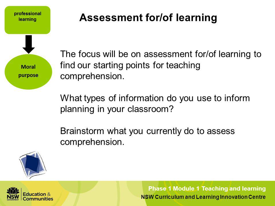 Assessment for/of learning