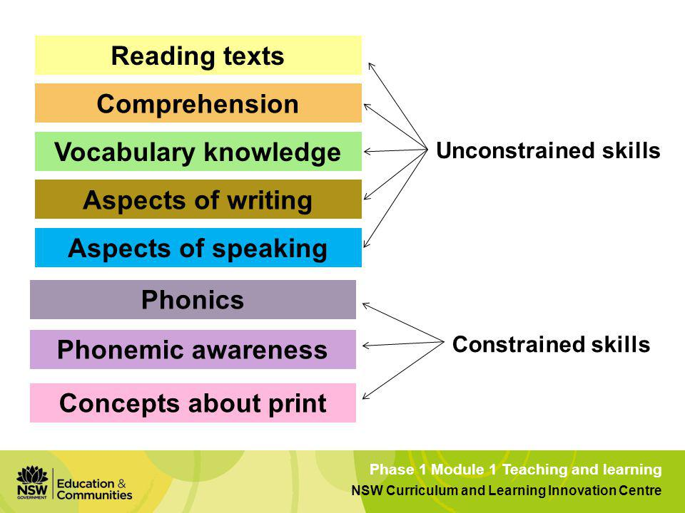 Reading texts Comprehension Vocabulary knowledge Aspects of writing