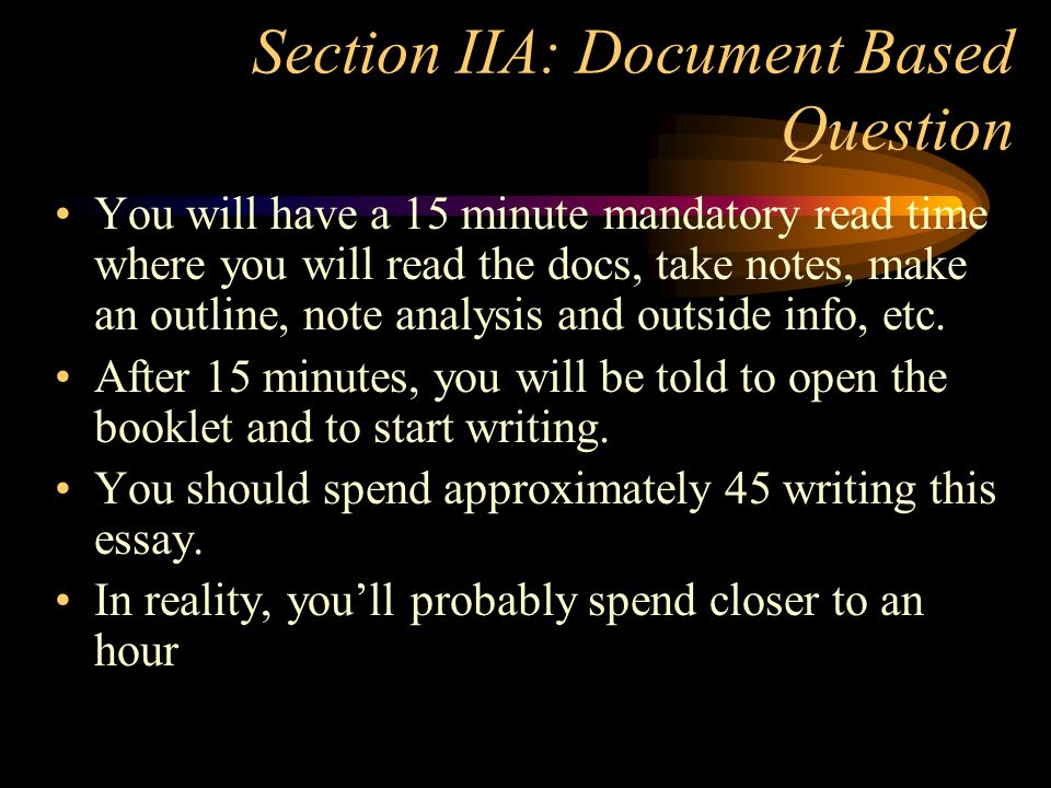 Section IIA: Document Based Question