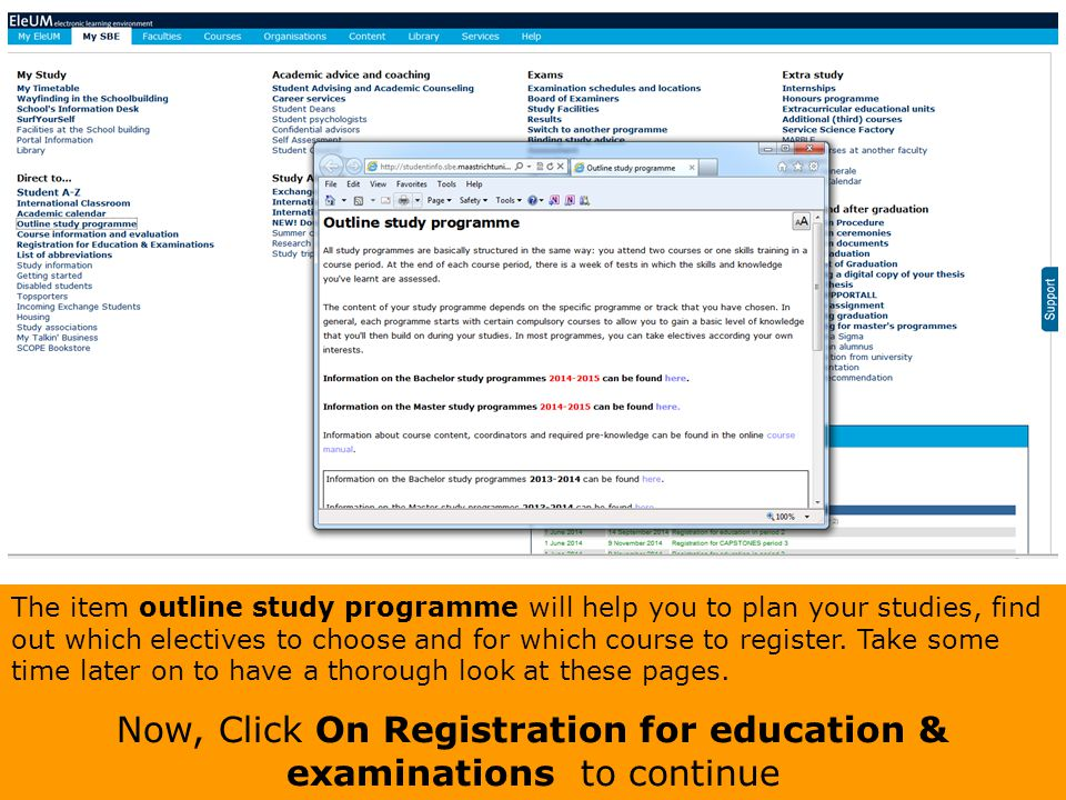 Now, Click On Registration for education & examinations to continue