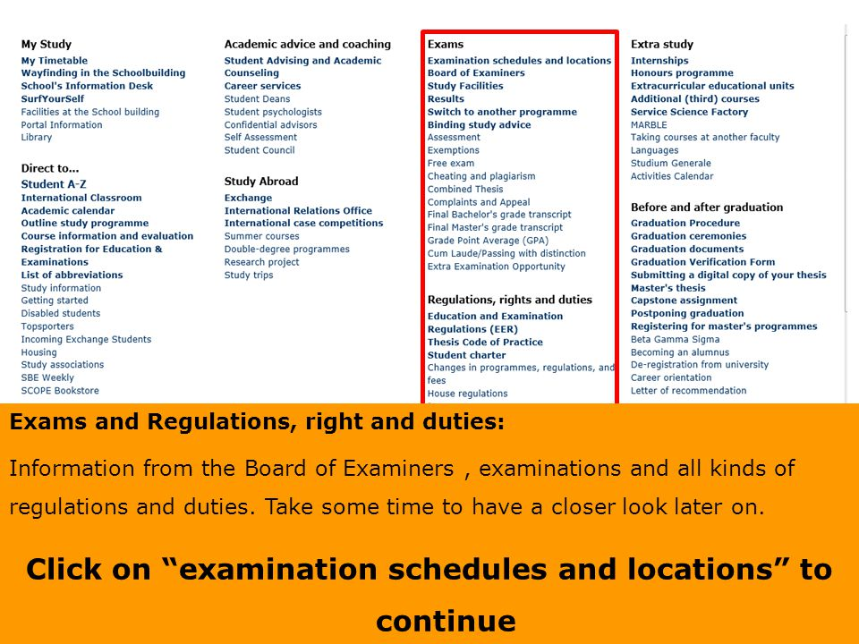 Click on examination schedules and locations to continue