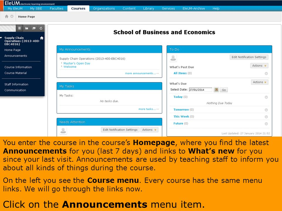 Click on the Announcements menu item.