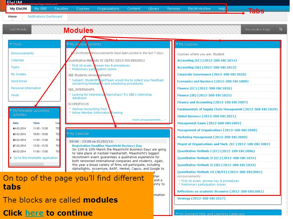 Tabs Modules. On top of the page you'll find different tabs.