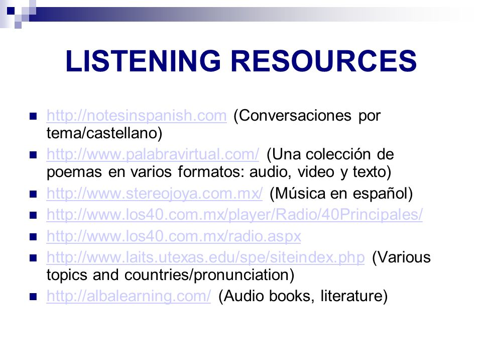AP SPANISH LANGUAGE LISTENING RESOURCES. http://notesinspanish.com (Conversaciones por tema/castellano)‏