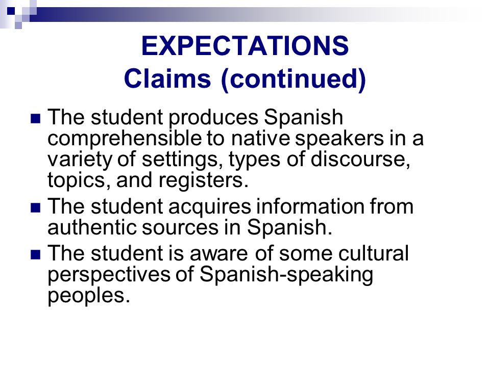 EXPECTATIONS Claims (continued)
