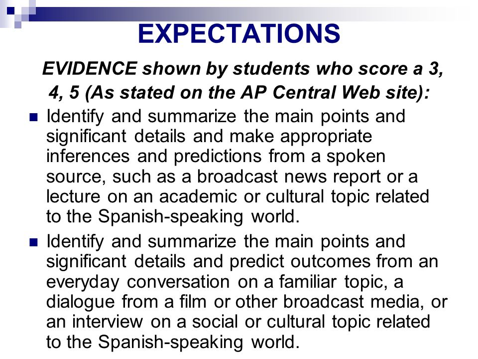 AP SPANISH LANGUAGE EXPECTATIONS EVIDENCE shown by students who score a 3, 4, 5 (As stated on the AP Central Web site):