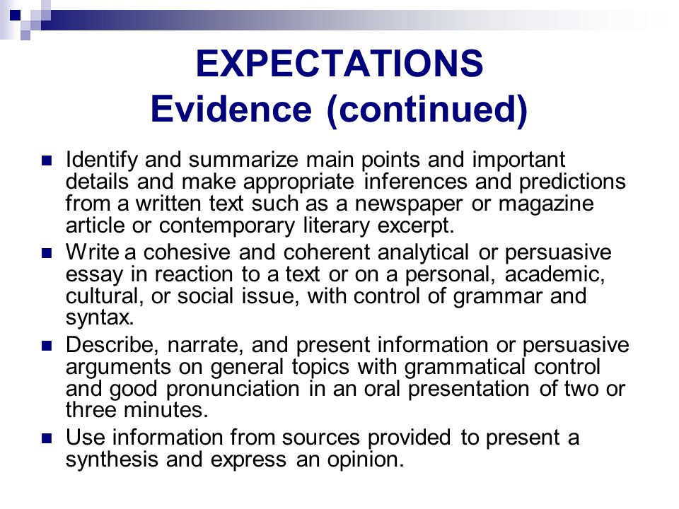 EXPECTATIONS Evidence (continued)‏