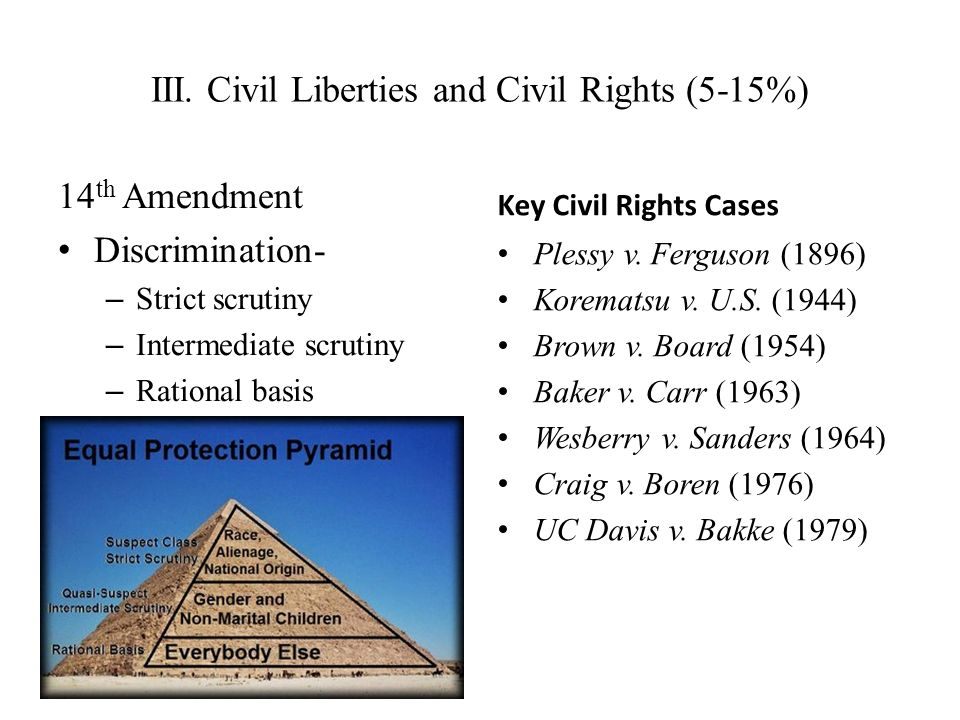 III. Civil Liberties and Civil Rights (5-15%)