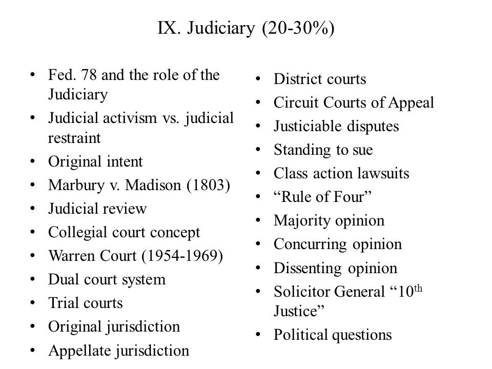 IX. Judiciary (20-30%) Fed. 78 and the role of the Judiciary