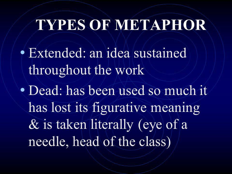 TYPES OF METAPHOR Extended: an idea sustained throughout the work
