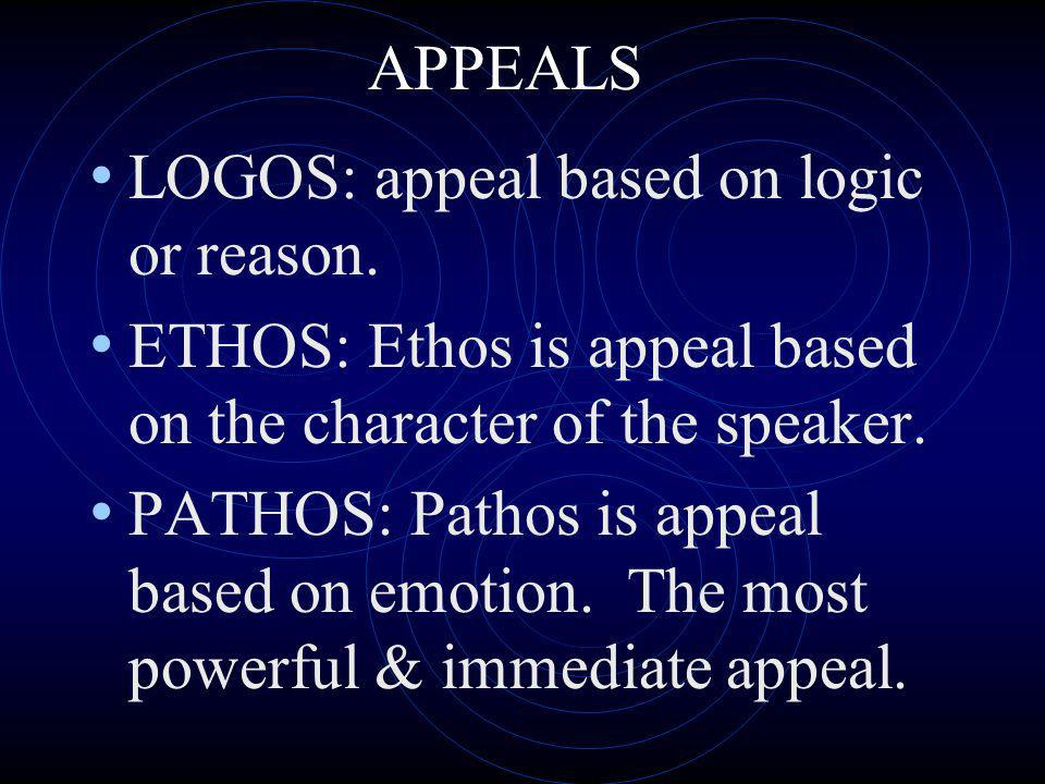 LOGOS: appeal based on logic or reason.