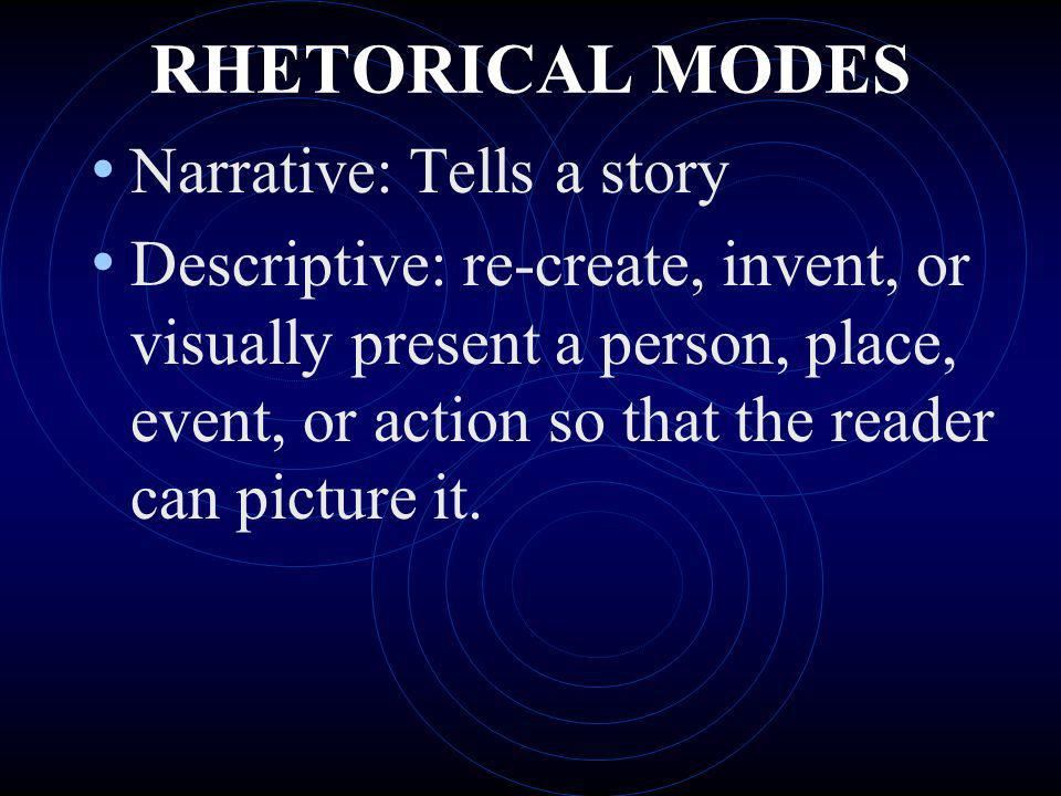 RHETORICAL MODES Narrative: Tells a story