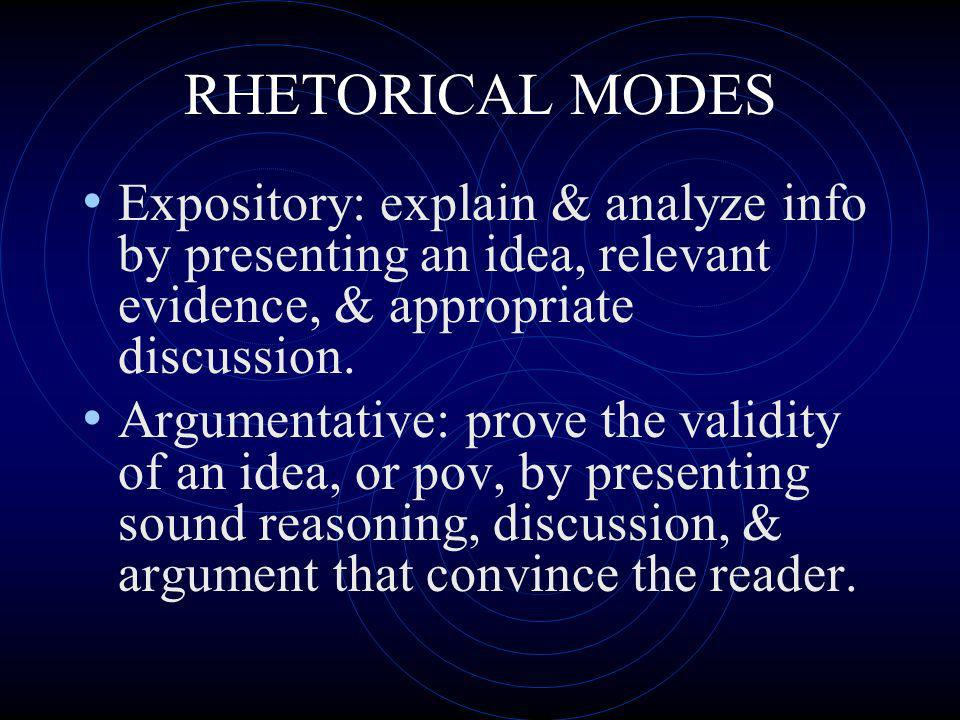 RHETORICAL MODES Expository: explain & analyze info by presenting an idea, relevant evidence, & appropriate discussion.